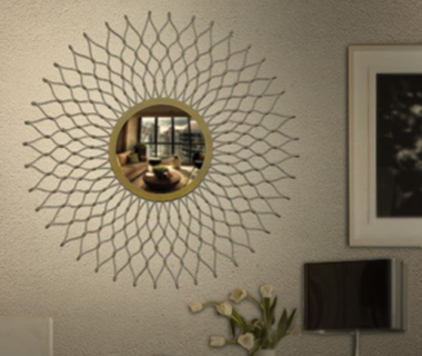Iron Mirror Frame Round Wall Hanging
