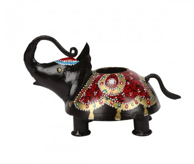 Iron Painted Candle Stand Elephant